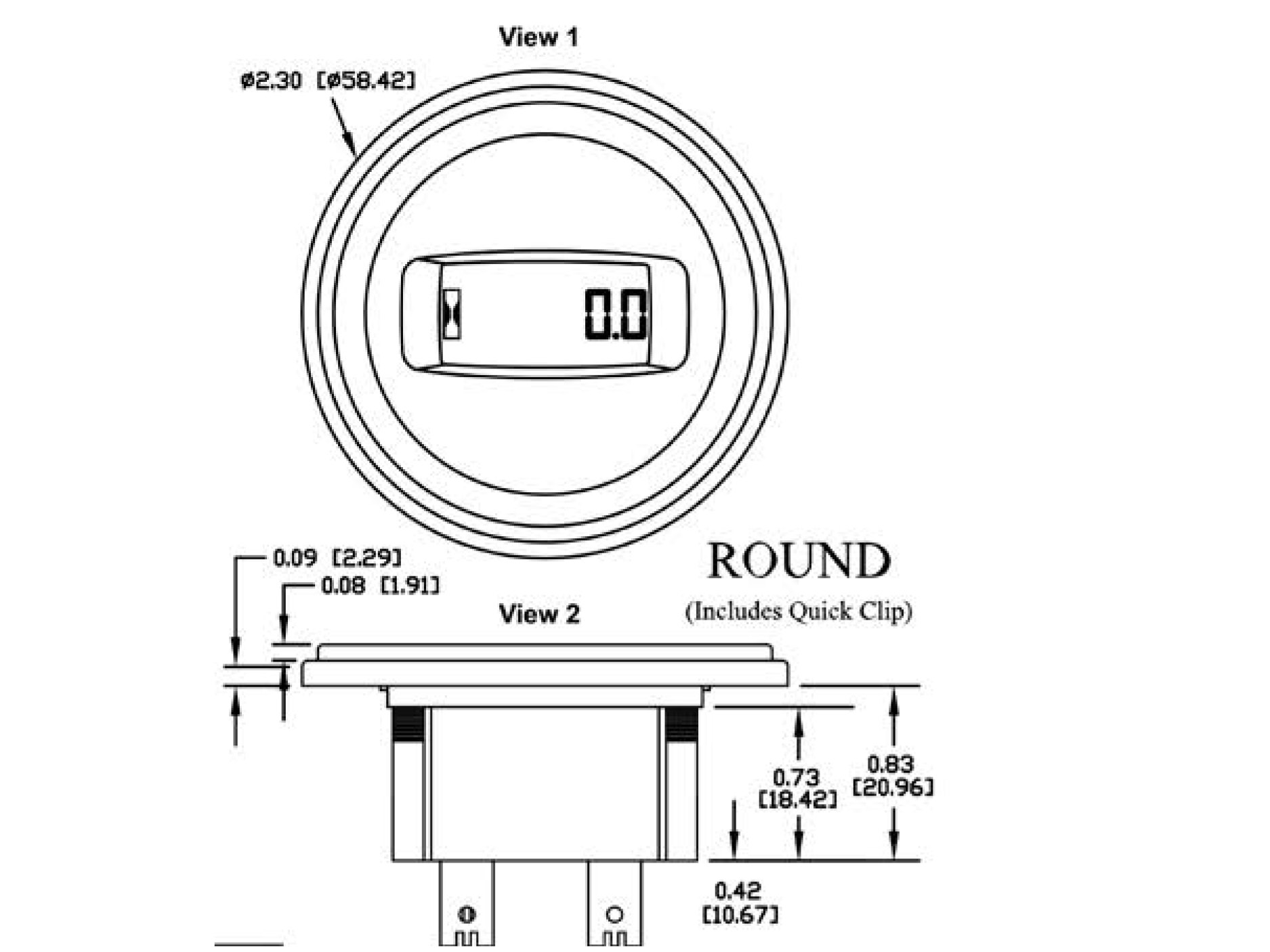N530 Round Dimensions drawing